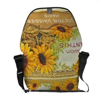 Vintage Paris Sunflower Designer Courier Bags