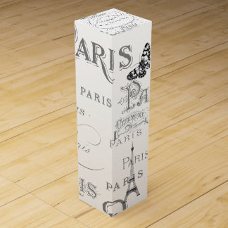 Vintage Paris Themed White Wedding Personalized Wine Box
