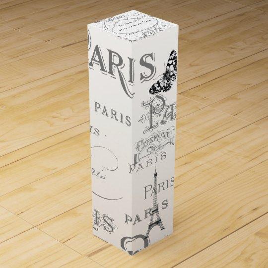 Vintage Paris Themed White Wedding Personalized Wine Box