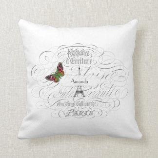 Vintage Paris White Personalized Pillows