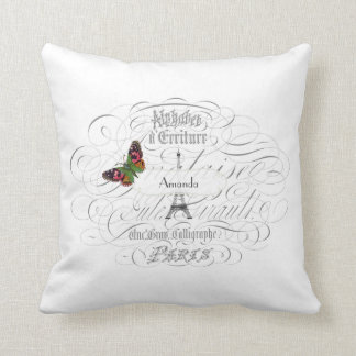 Vintage Paris White Personalized Throw Pillow