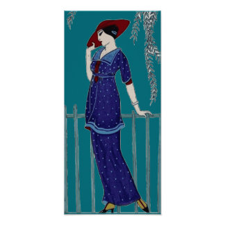 Vintage Parisian 1920s fashion lady Poster