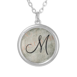 Vintage Parisian Advertisement with Monogram Silver Plated Necklace