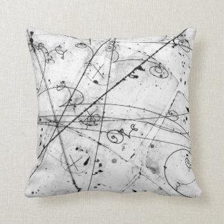 Vintage Partice Physics Tracks on White Throw Pillow