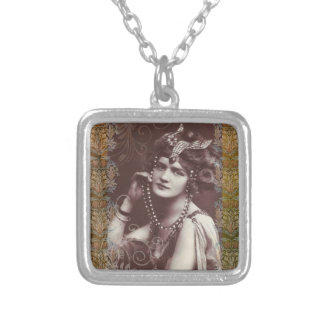 Vintage Party Girl on Victorian Tapestry Necklace
