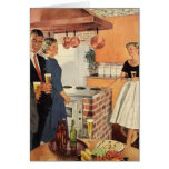 Vintage Party in the Kitchen, Beer and Appetizers Greeting Card