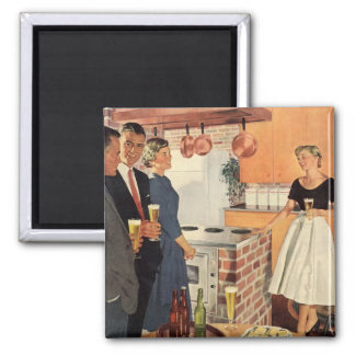 Vintage Party in the Kitchen, Beer and Appetizers Square Magnet