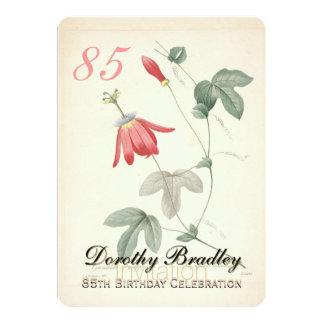 Vintage Passiflora 85th Birthday Party Invitation