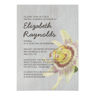 Vintage Passion Flower Bridal Shower Invitations