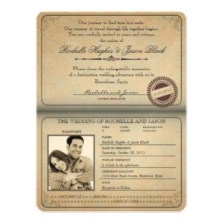 Vintage Passport Invitation 8 75 x 6 5
