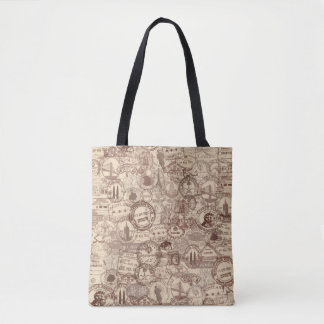 Vintage Passport Stamps All Over Print Tote Bag