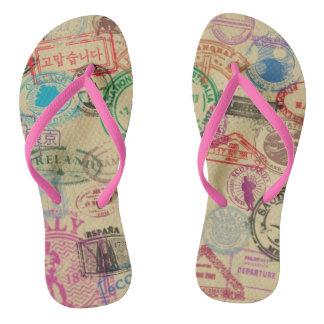 Vintage Passport Stamps Flip Flops