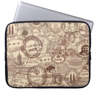 Vintage Passport Stamps Laptop Sleeve
