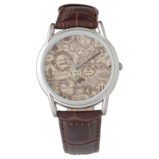 Vintage Passport Stamps Men's Brown Leather Watch
