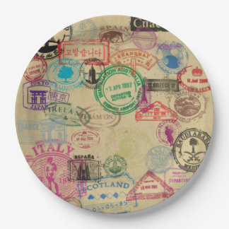 """Vintage Passport Stamps Paper Plates 9"""" 9 Inch Paper Plate"""
