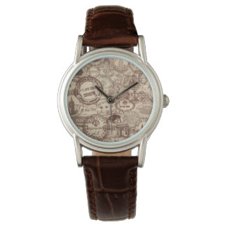 Vintage Passport Stamps Womens Brown Leather Watch