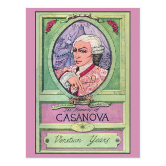 Vintage pastel colored Casanova portrait Postcard