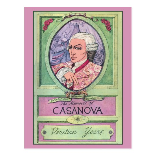 Vintage pastel coloured Casanova portrait Postcard
