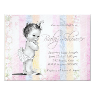 Vintage Pastel Rainbow Baby Shower Card
