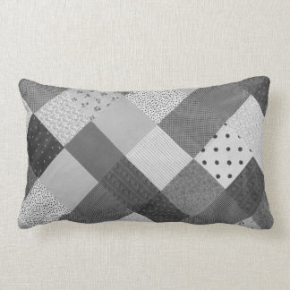 vintage patchwork fabric design black and white lumbar pillow