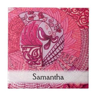 Vintage Patchwork - Hot pink Ceramic Tiles