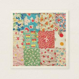 Vintage Patchwork Print Paper Napkins
