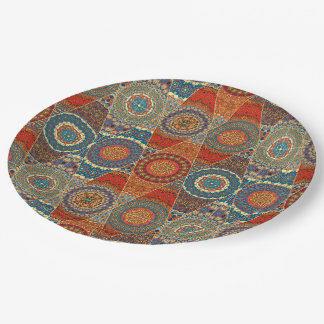 Vintage patchwork with floral mandala elements 9 inch paper plate