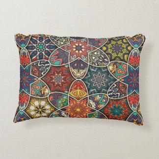 Vintage patchwork with floral mandala elements accent pillow