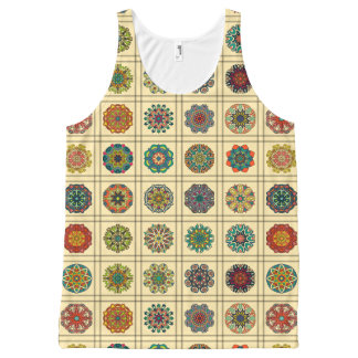 Vintage patchwork with floral mandala elements All-Over-Print tank top