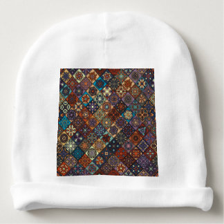 Vintage patchwork with floral mandala elements baby beanie