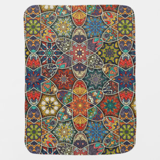 Vintage patchwork with floral mandala elements baby blanket