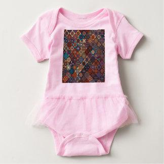 Vintage patchwork with floral mandala elements baby bodysuit