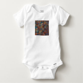 Vintage patchwork with floral mandala elements baby onesie
