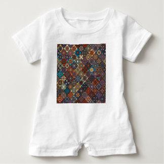 Vintage patchwork with floral mandala elements baby romper