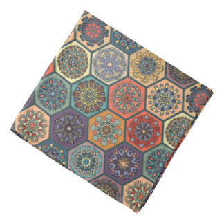 Vintage patchwork with floral mandala elements bandana