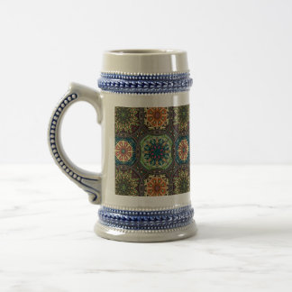 Vintage patchwork with floral mandala elements beer stein