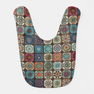 Vintage patchwork with floral mandala elements bib