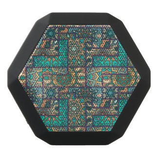Vintage patchwork with floral mandala elements black bluetooth speaker