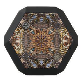 Vintage patchwork with floral mandala elements black bluetooth speaker