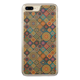 Vintage patchwork with floral mandala elements carved iPhone 7 plus case