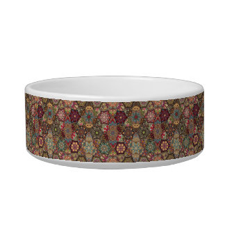 Vintage patchwork with floral mandala elements cat water bowl