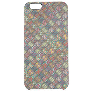 Vintage patchwork with floral mandala elements clear iPhone 6 plus case