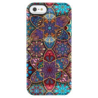 Vintage patchwork with floral mandala elements clear iPhone SE/5/5s case