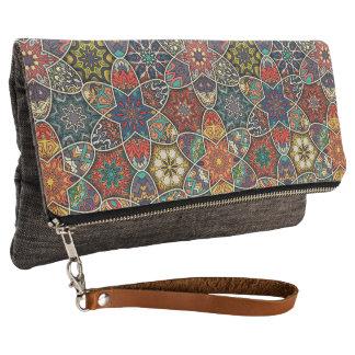 Vintage patchwork with floral mandala elements clutch