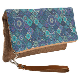 Vintage patchwork with floral mandala elements clutch