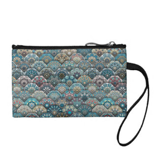Vintage patchwork with floral mandala elements coin purses