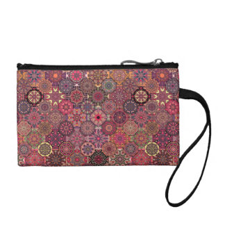 Vintage patchwork with floral mandala elements coin wallet