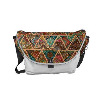Vintage patchwork with floral mandala elements commuter bag