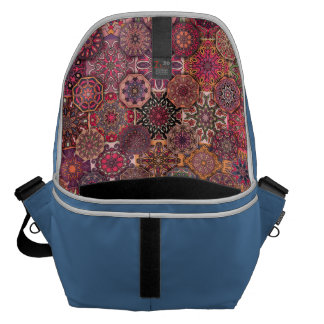 Vintage patchwork with floral mandala elements commuter bags