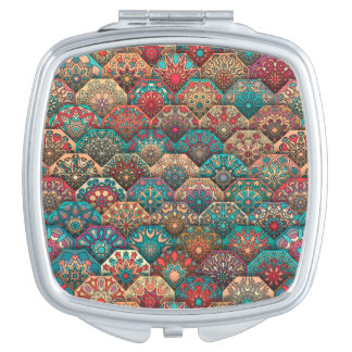 Vintage patchwork with floral mandala elements compact mirror